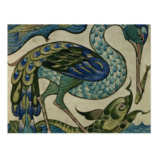 Tile design of heron and fish, by Walter Crane Postcard