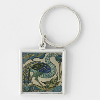 Tile design of heron and fish, by Walter Crane Silver-Colored Square Keychain