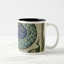 Tile design of heron and fish, by Walter Crane Two-Tone Coffee Mug
