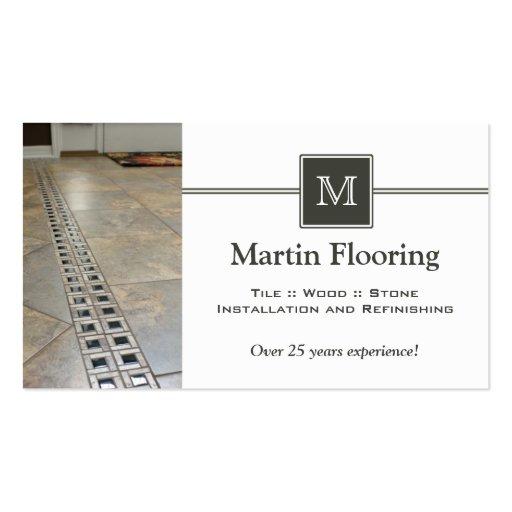 Tile Flooring Custom Monogram Business Card Zazzle