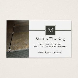 Tile flooring custom monogram business card