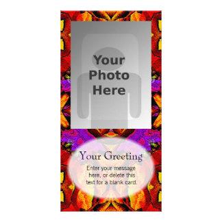 Tile Flower Vertical PhotoCard Template Custom Photo Card