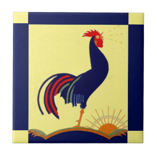 Tile Folk Art Rooster Crow Morning Sun & Blue