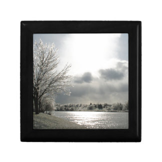 tile gift box with photo of icy winter landscape
