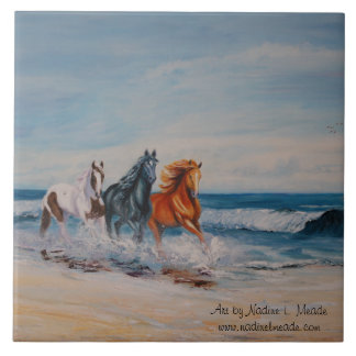 Tile, Horses in the Surf Ceramic Tile