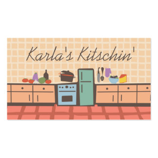 Tile kitchen cooking tomato sauce chef biz card Double-Sided standard business cards (Pack of 100)