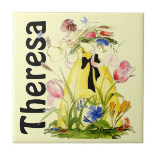Tile Lady Wild Flowers Chases Butterfly Theresa