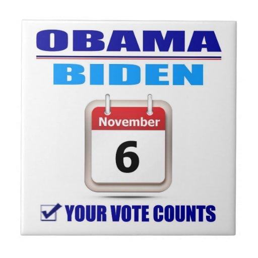 Tile -Obama/Biden - Your Vote Counts