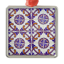 Tile pattern close-up, Portugal Metal Ornament