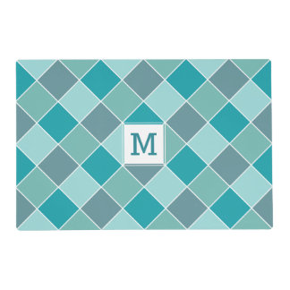 Tile pattern custom monogram reversible placemat
