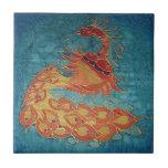 Tile: Peacock Silk Painting