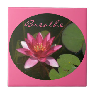 "Tile, Pink Lotus Blossom, Round Image, ""Breathe"" Tile"