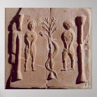 Tile representing Adam and Eve, Roman Poster