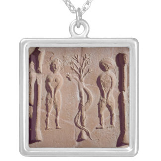 Tile representing Adam and Eve, Roman Silver Plated Necklace