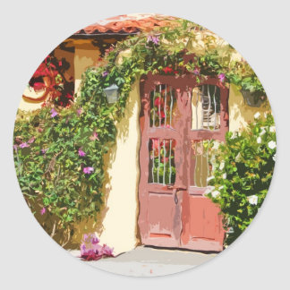 Tile Roof Gate Walkway Classic Round Sticker