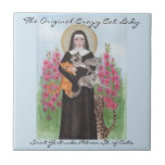 "Tile Saint Gertrude Patron St. of Cats<br><div class=""desc"">Saint Gertrude Patron St. of Cats.  The Original Crazy Cat Lady. Watercolor by Miranda.</div>"
