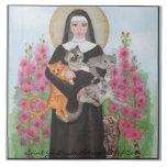 """Tile Saint Gertrude Patron St. of Cats Trivet<br><div class=""""desc"""">Saint Gertrude Patron St. of Cats.  The Original Crazy Cat Lady. Watercolor by Miranda.</div>"""