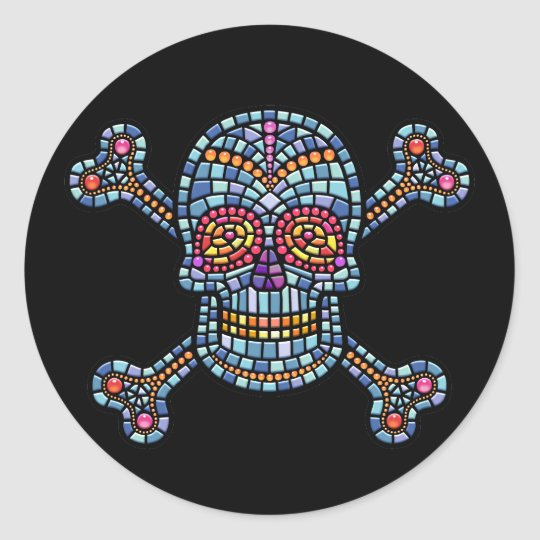 Tile Skull 1 Classic Round Sticker