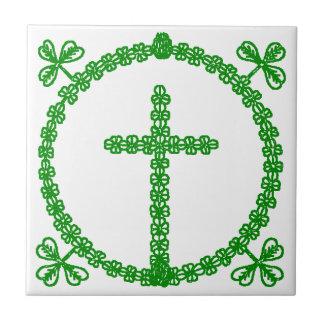 Tile Vintage Celtic Cross Shamrock Clover Knot