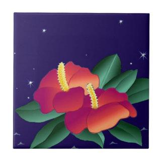 Tile Vintage Hawaiian Tropical Blue Night Hibiscus