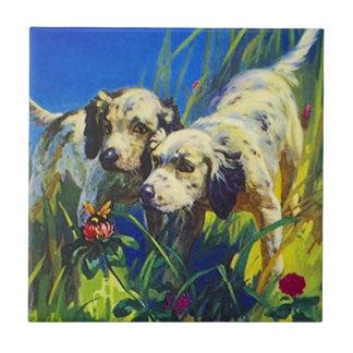 Tile Vintage Hunting puppies watch bumblebee