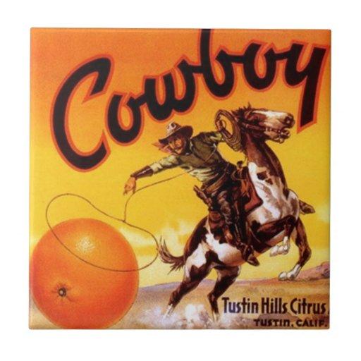 Tile Vintage Kitchen Can Label Cowboy Roping Brand