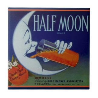Tile Vintage Kitchen Can Label Half Moon Orange