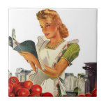 """Tile Vintage Kitchen Cook Retro Stylish Lady Chef<br><div class=""""desc"""">Vintage Retro style with a busy lady cooking.. makes a colorful kitchen trivet or ceramic accent tile. Enjoy Tile &amp; Thanks For Stopping By!</div>"""