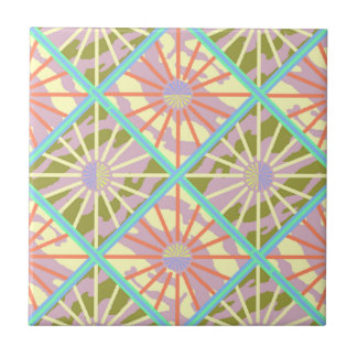 Tile Vintage Retro Colorful Atomic Era Starburst