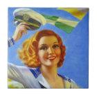 Tile vintage retro happy sailors girl lady woman