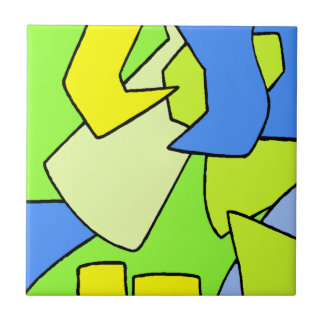 Tile Vintage Retro yellow green blue Puzzle Pieces