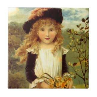 Tile Vintage Victorian Girl in Nature Flower Pick