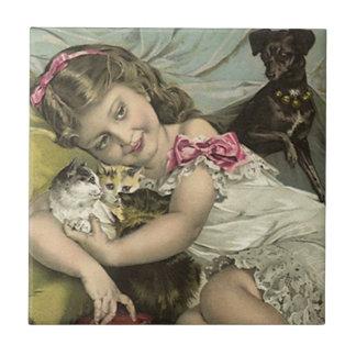 Tile Vintage Victorian Girl & Pets Kittens puppy