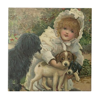 Tile Vintage Victorian Girl & Stray Pets Rescue