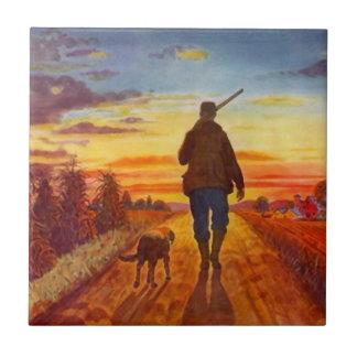 Tile Vintage Walk Into the Sunset Hunter & Dog