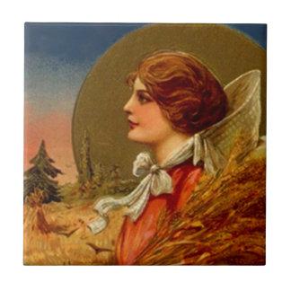 Tile Vintage Wheat Harvest Pilgrim Woman Bounty