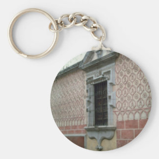 Tile walled building in Taxco Basic Round Button Keychain