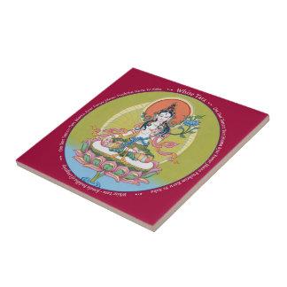 Tile - White Tara with Mantra - Longevity Buddha