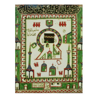 Tile with a representation of Mecca Post Card