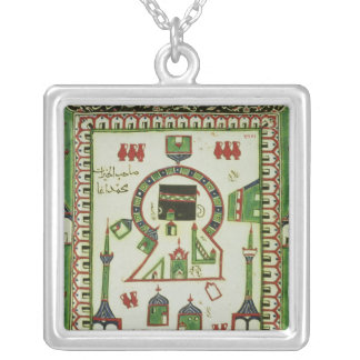 Tile with a representation of Mecca Silver Plated Necklace