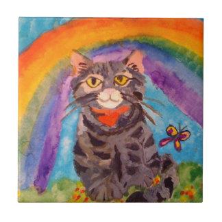 TILE WITH CAT AT RAINBOW BRIDGE