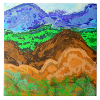 Tile with layered pattern evoking hills
