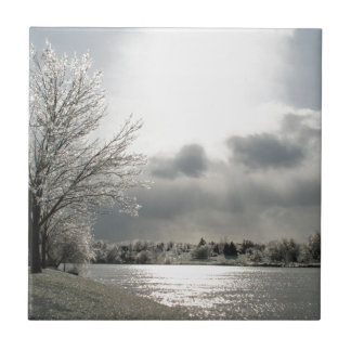 tile with photo of icy winter landscape