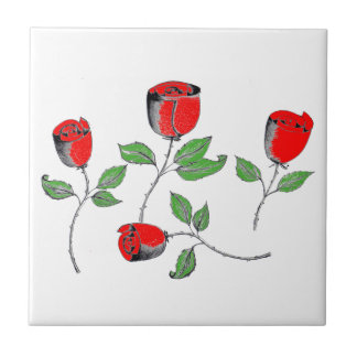 Tile with Rose Art
