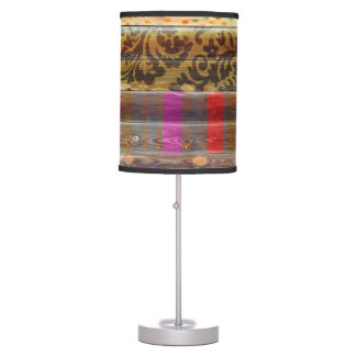 Tileable Wood With Patterns Table Lamp