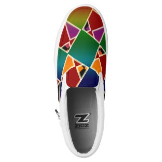 Tiled Colorful Squared Pattern ZIPZ Slip-On Sneakers