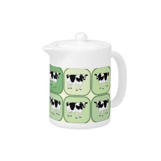 Tiled cows pattern teapot