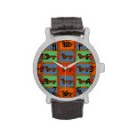 Tiled Dachshund Abstract Wrist Watches