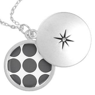 Tiled DarkGrey Dots Round Locket Necklace
