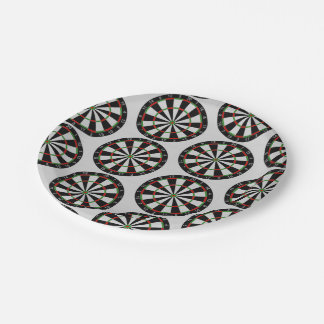 Tiled Darts Target Pattern Paper Plate